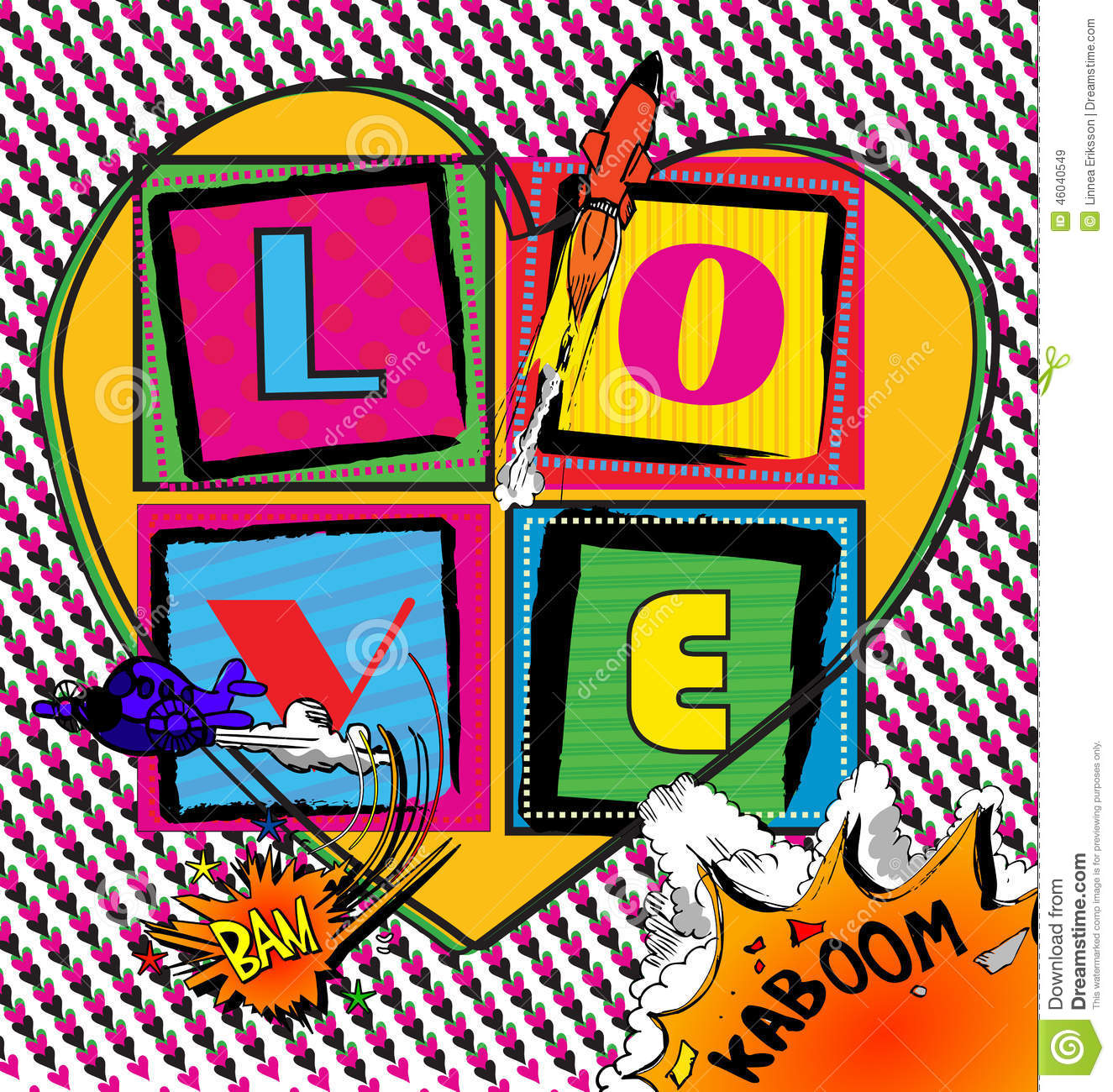 Love Pop Art Card With Comic Book Style Stock Vector