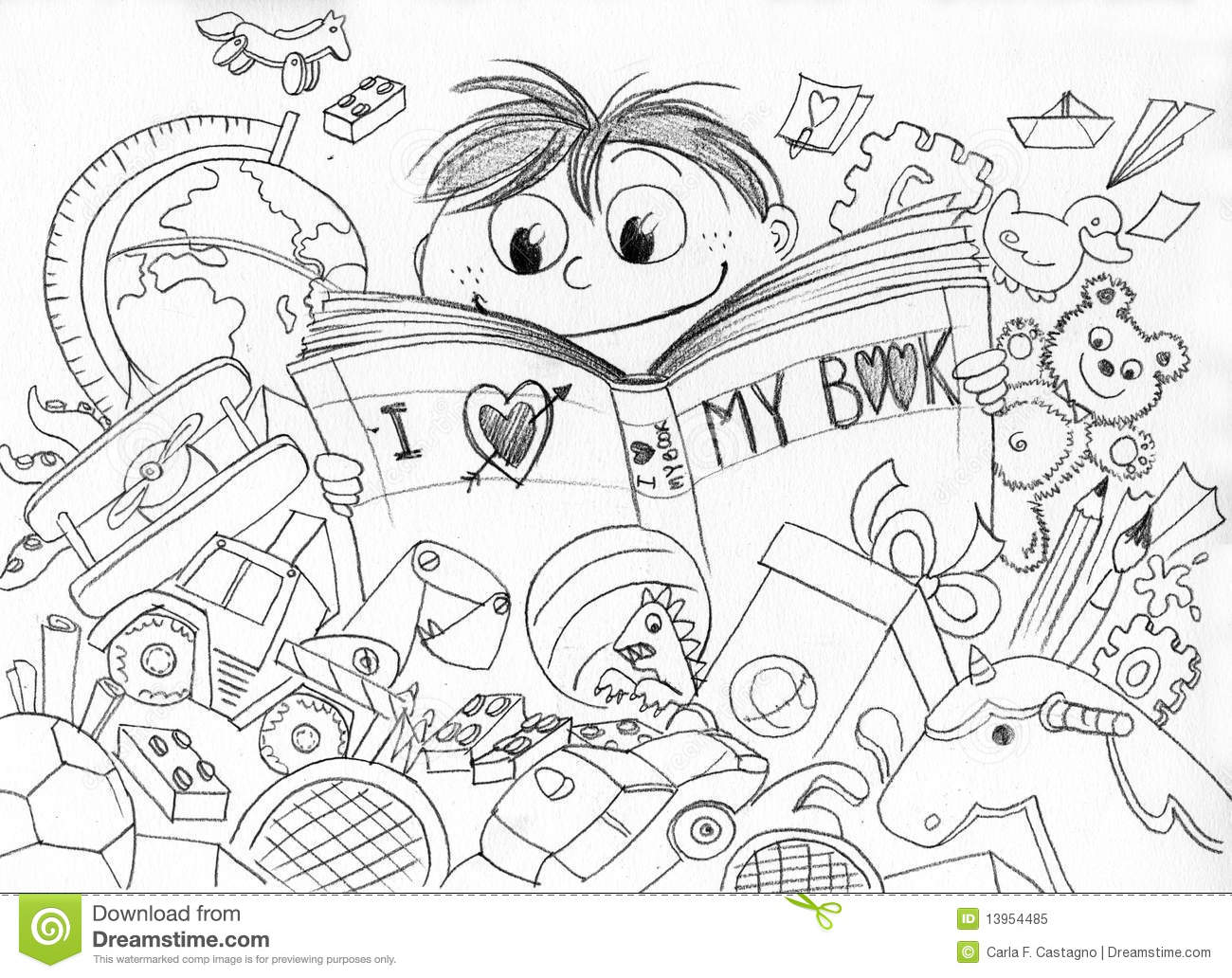 Love For Reading Bw Stock Vector Illustration Of Mess