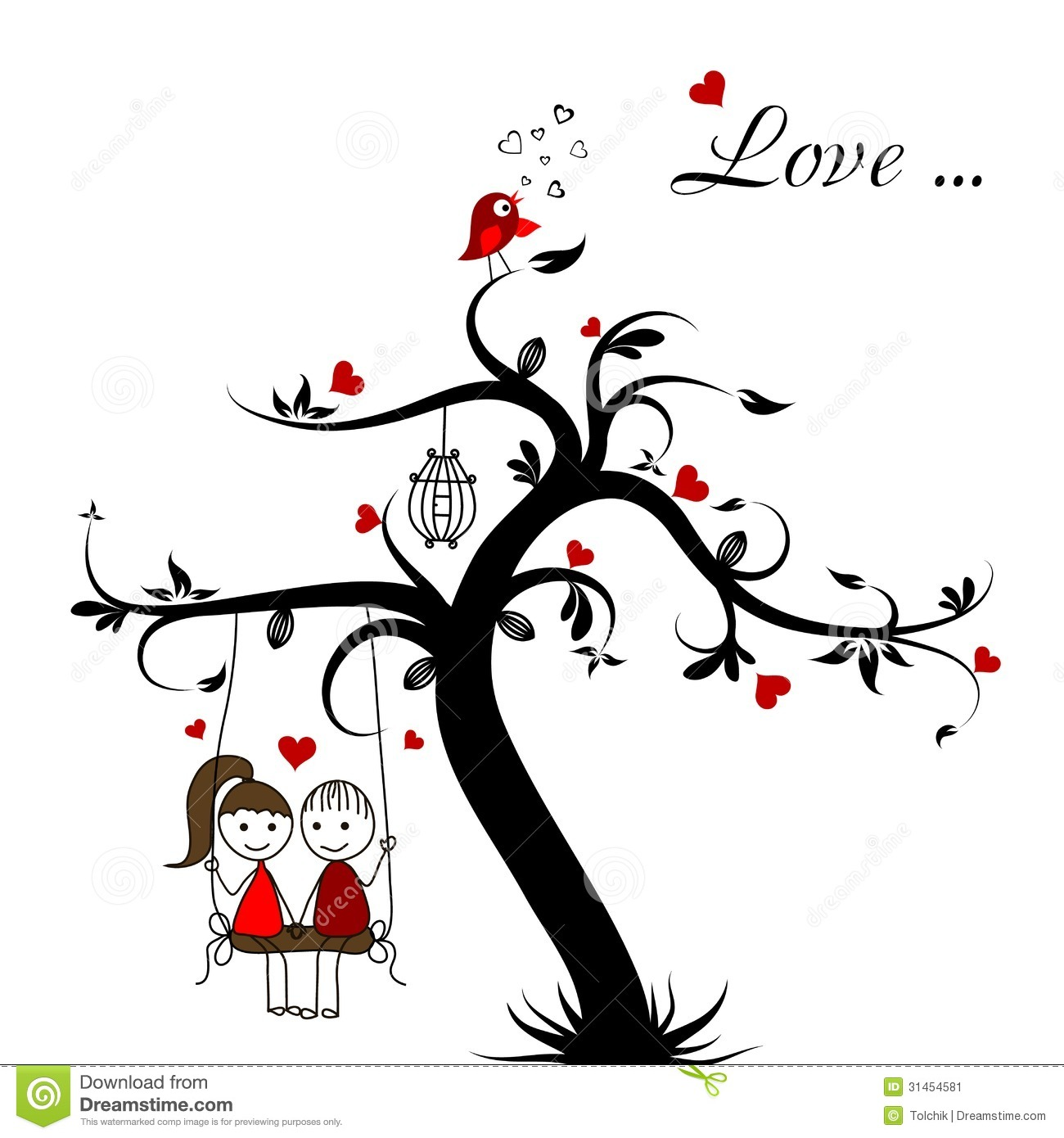 Love Story Card Vector Stock Vector Illustration Of Tree