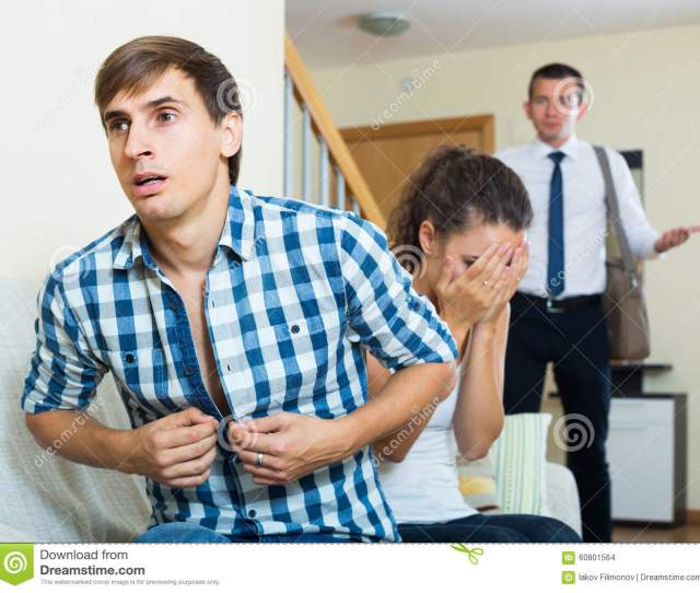Love Triangle Adult Husband Upset Wife And Lover At Domestic Interior