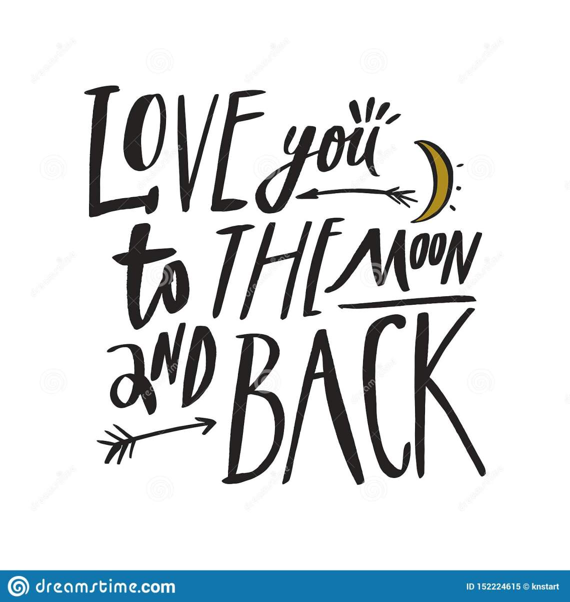 Download Love You To The Moon And Back. Romantic Inscription ...