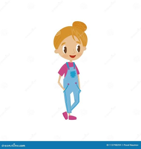 Lovely Cartoon Girl Character In Denim Overalls, Cute Kid ...