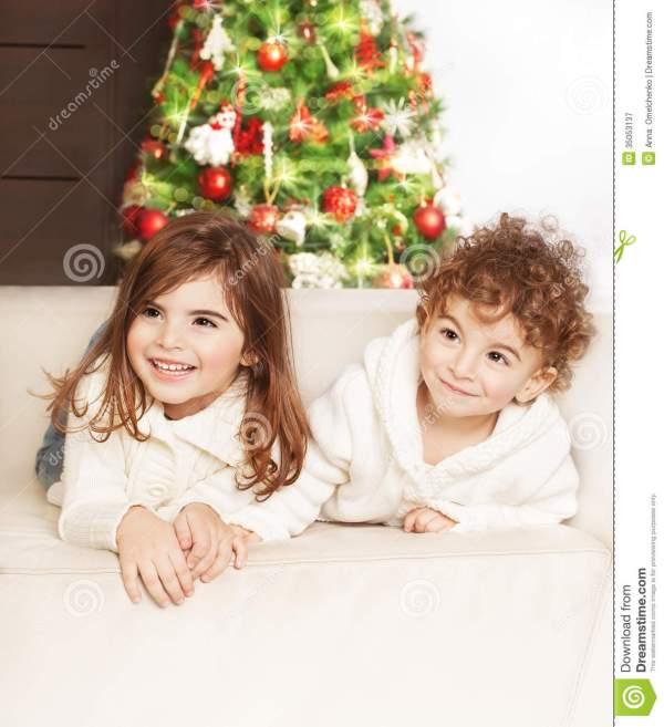 Lovely Children At Christmas Party Royalty Free Stock ...