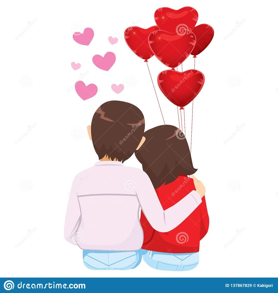 Download Lover Couple Red Heart Balloons Stock Vector ...