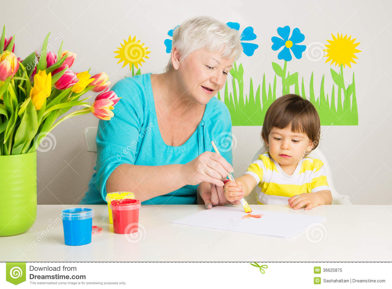 Loving Grandma Teaching Grandson Drawing At Home Royalty Free Stock Photo