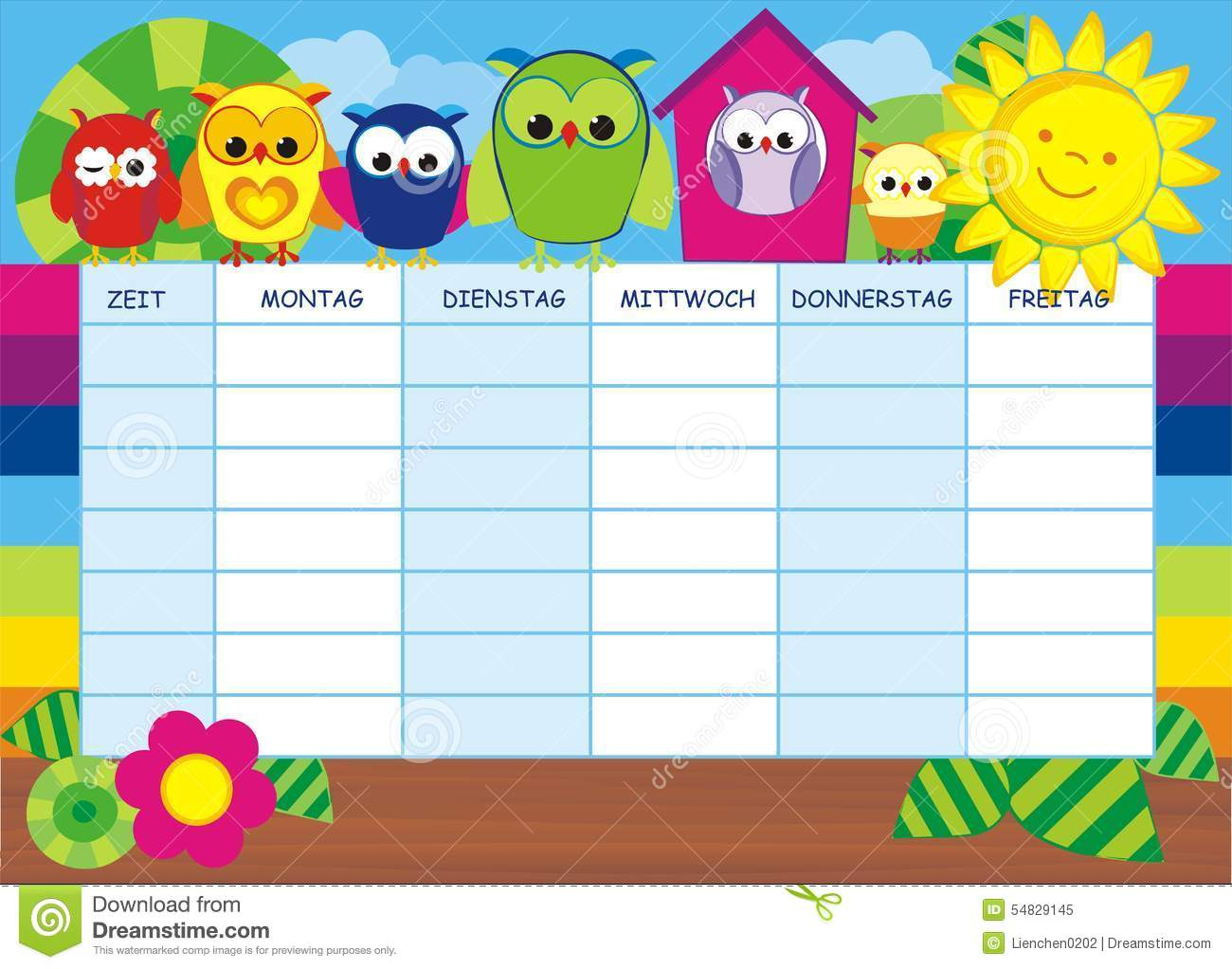 Lovlely Background With Pencils And Timetable Stock