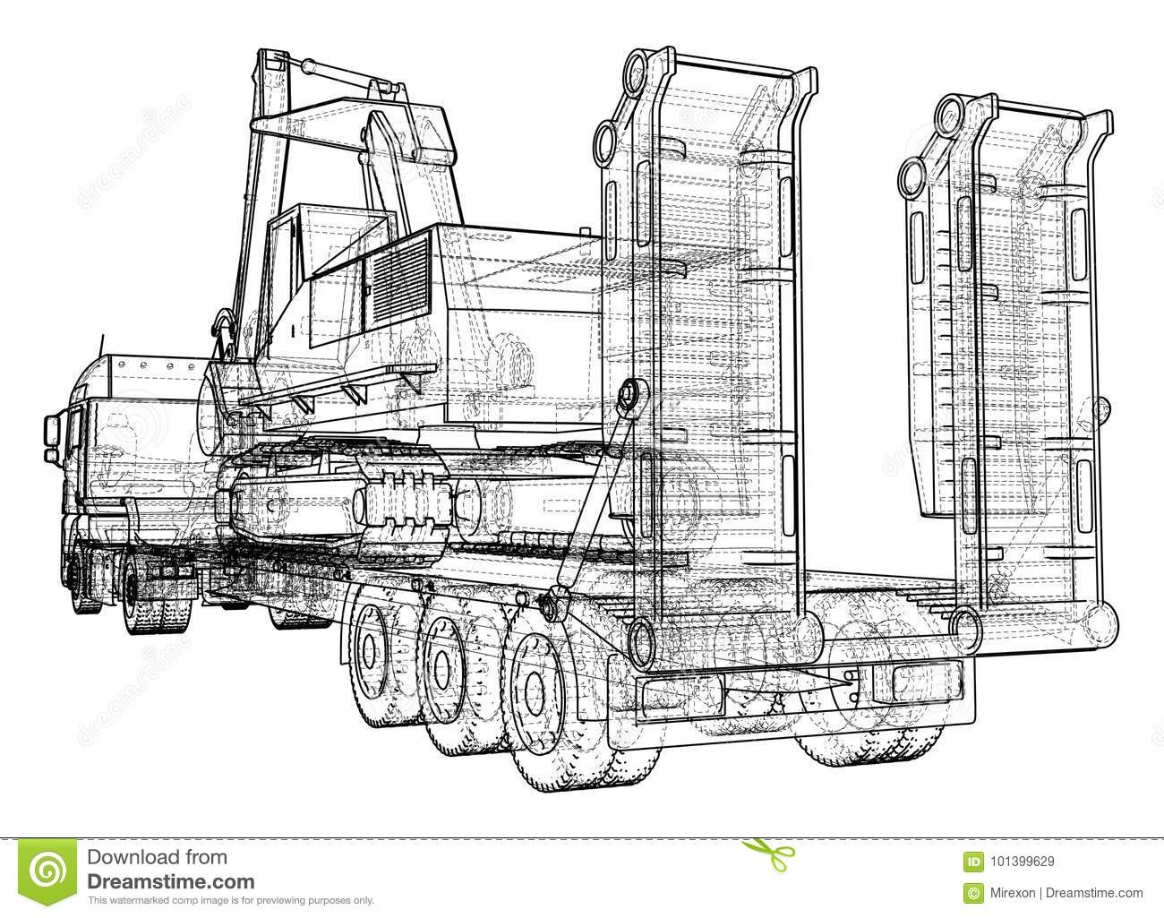 Low Bed Truck Trailer And Excavator Wire Frame Eps10