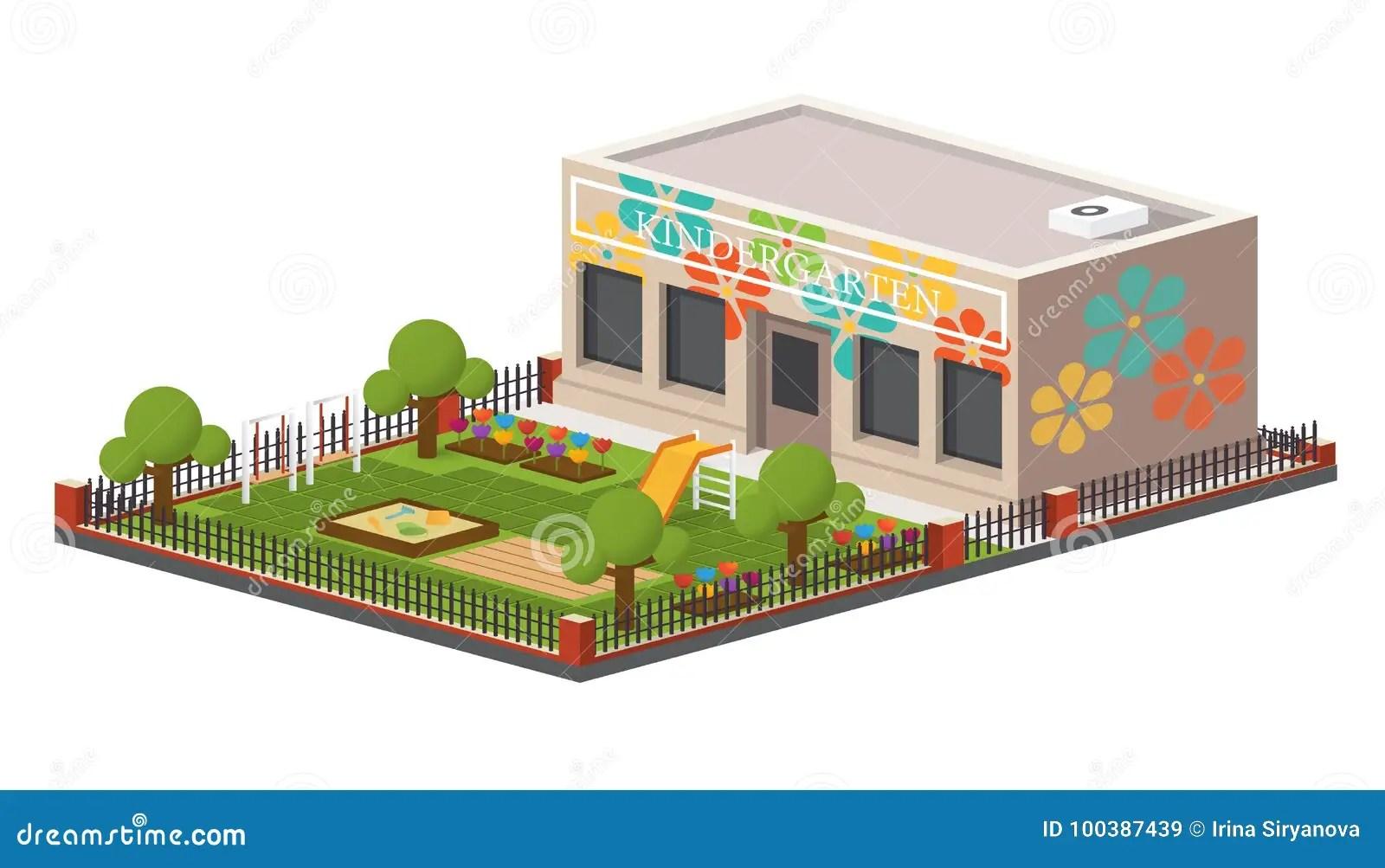 Low Poly Kindergarten Building Stock Vector