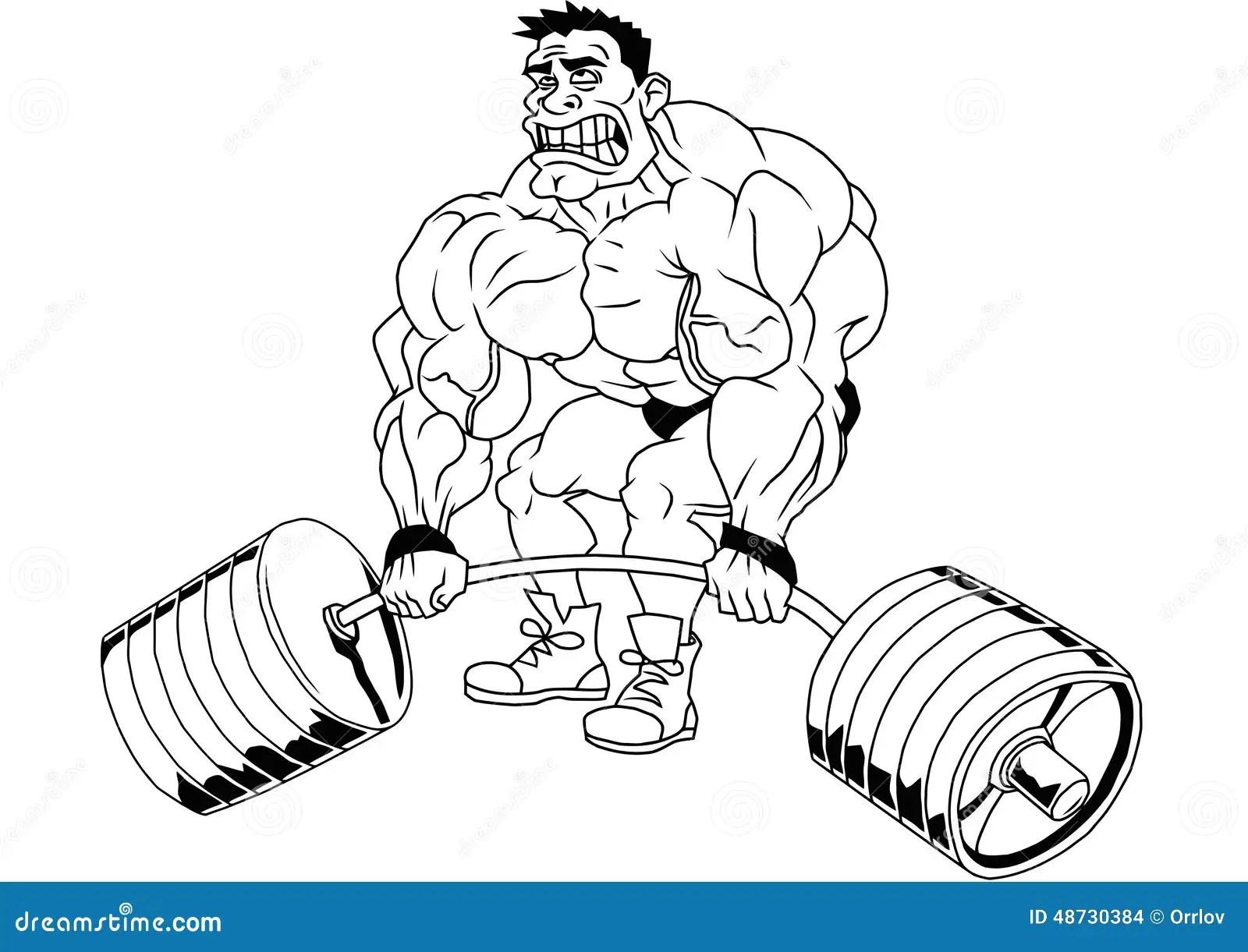 Lustiger Bodybuilder Der Karikatur Vektor Abbildung