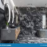 Luxury Black Marble Bathroom Interior Stock Illustration Illustration Of Interior Light 174767868