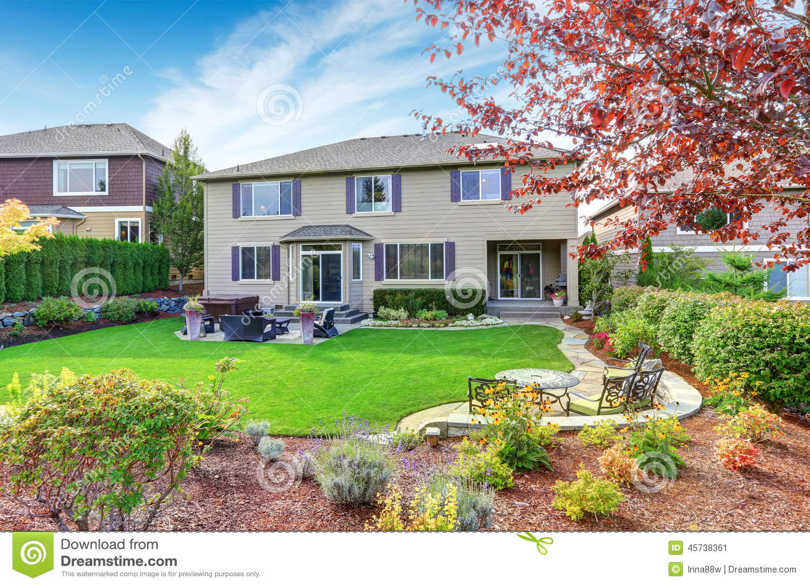 Luxury House Exterior With Impressive Backyard Landscape ... on Luxury Backyard Design  id=83963