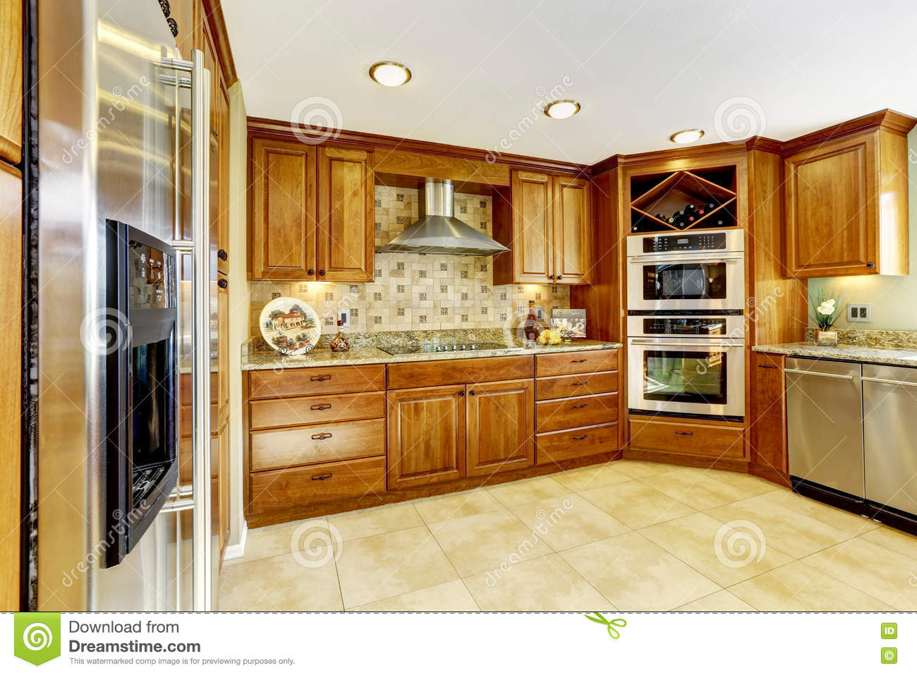 luxury kitchen with tile floor and stained cabinets stock photo image of large shiny 73894590