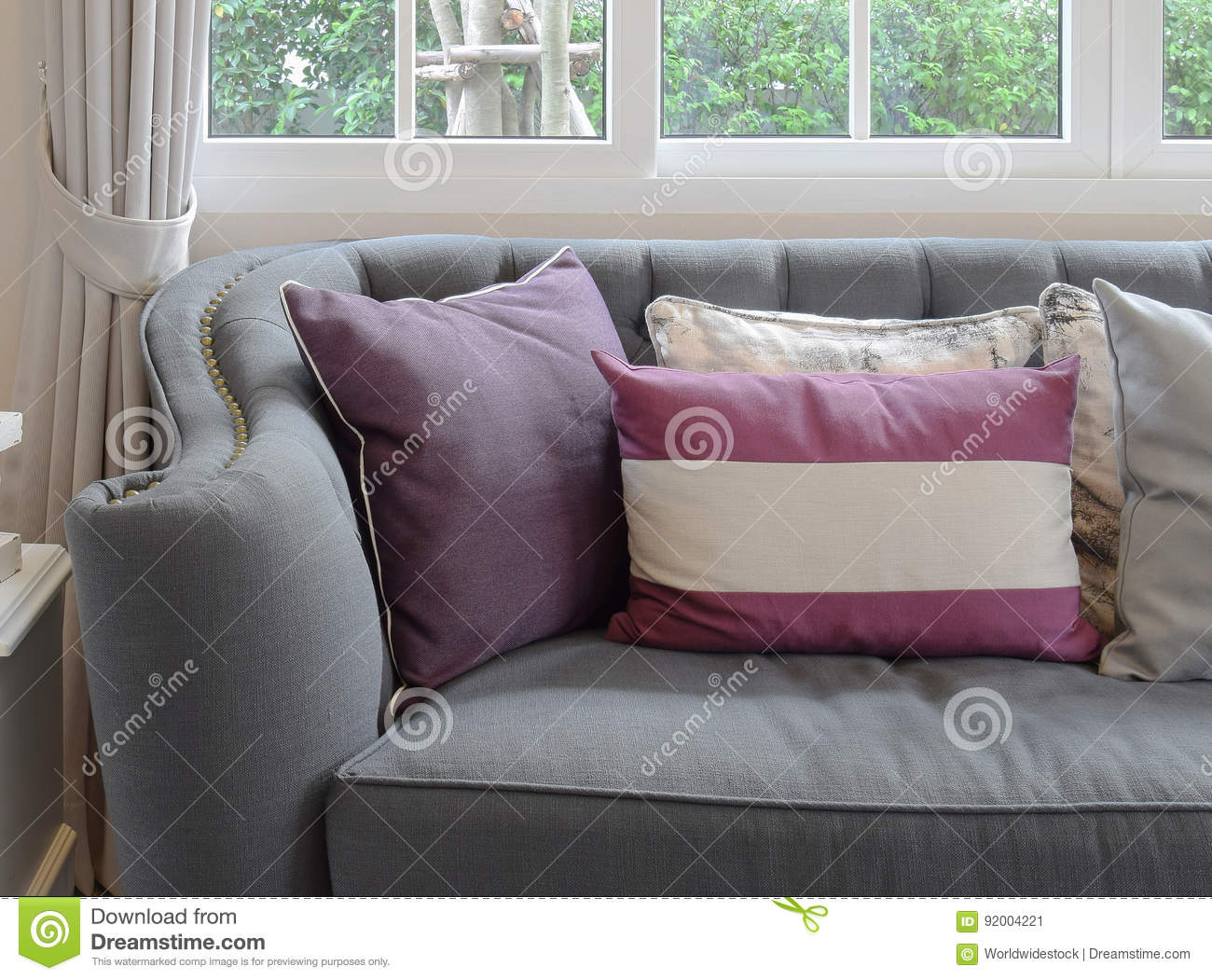 luxury living room design with classic sofa and decorative purple pillow stock image image of living armchair 92004221