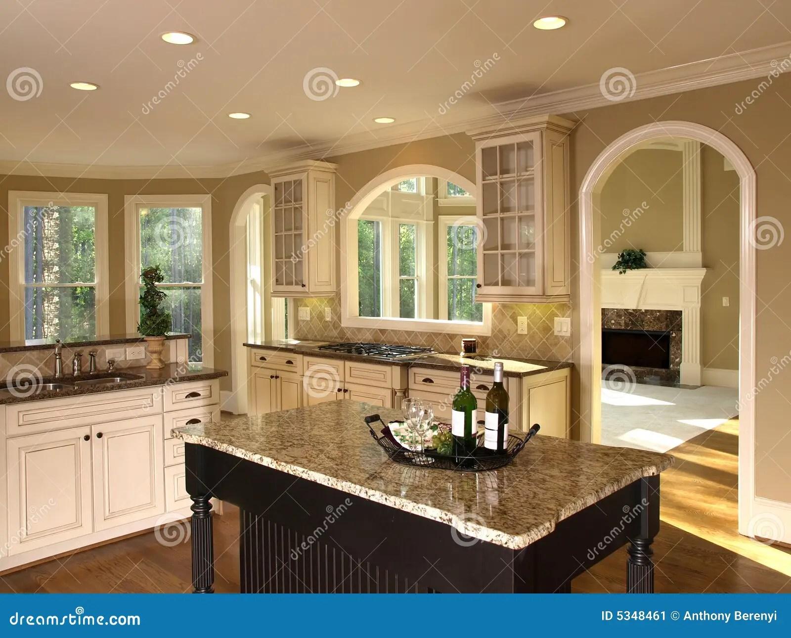 Luxury Model Home Kitchen Island Stock Image Image 5348461