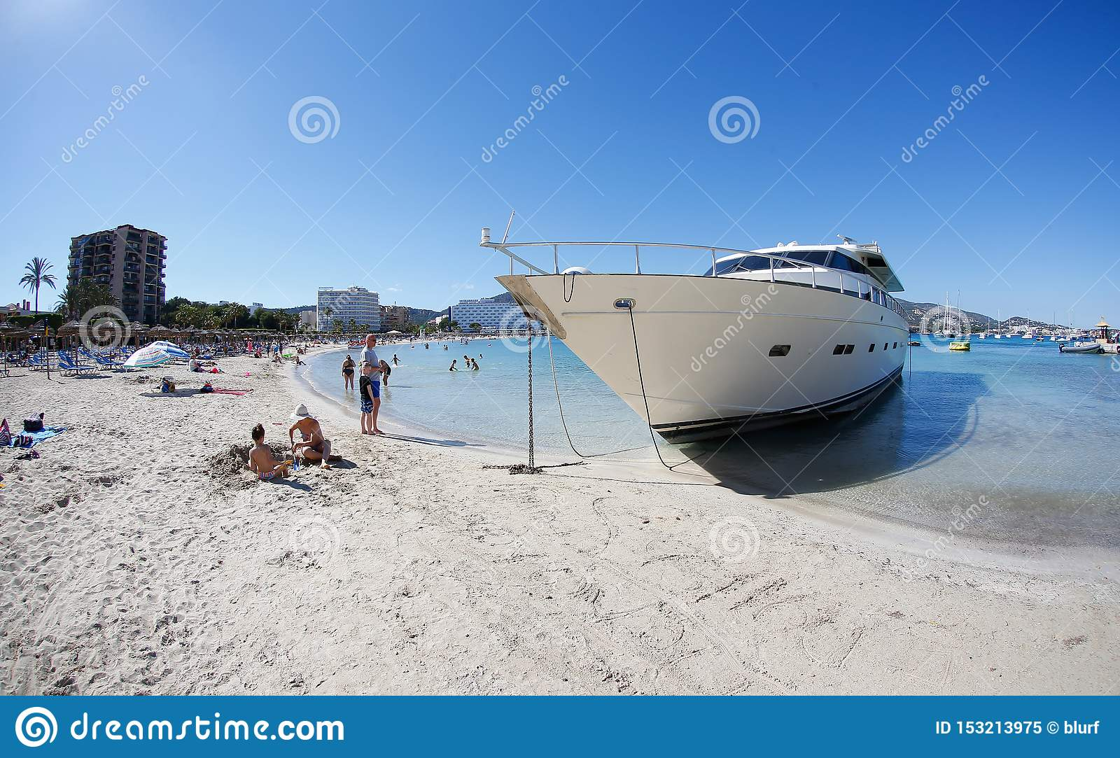 https www dreamstime com luxury yacht wrecked sand son matias beach palmanova last march strong storms caused wreckage then image153213975