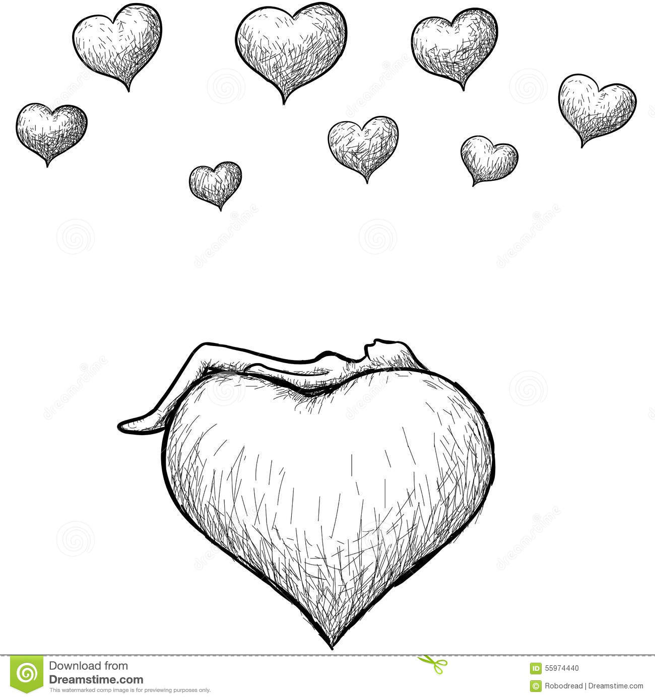 Lying Above The Heart Stock Vector