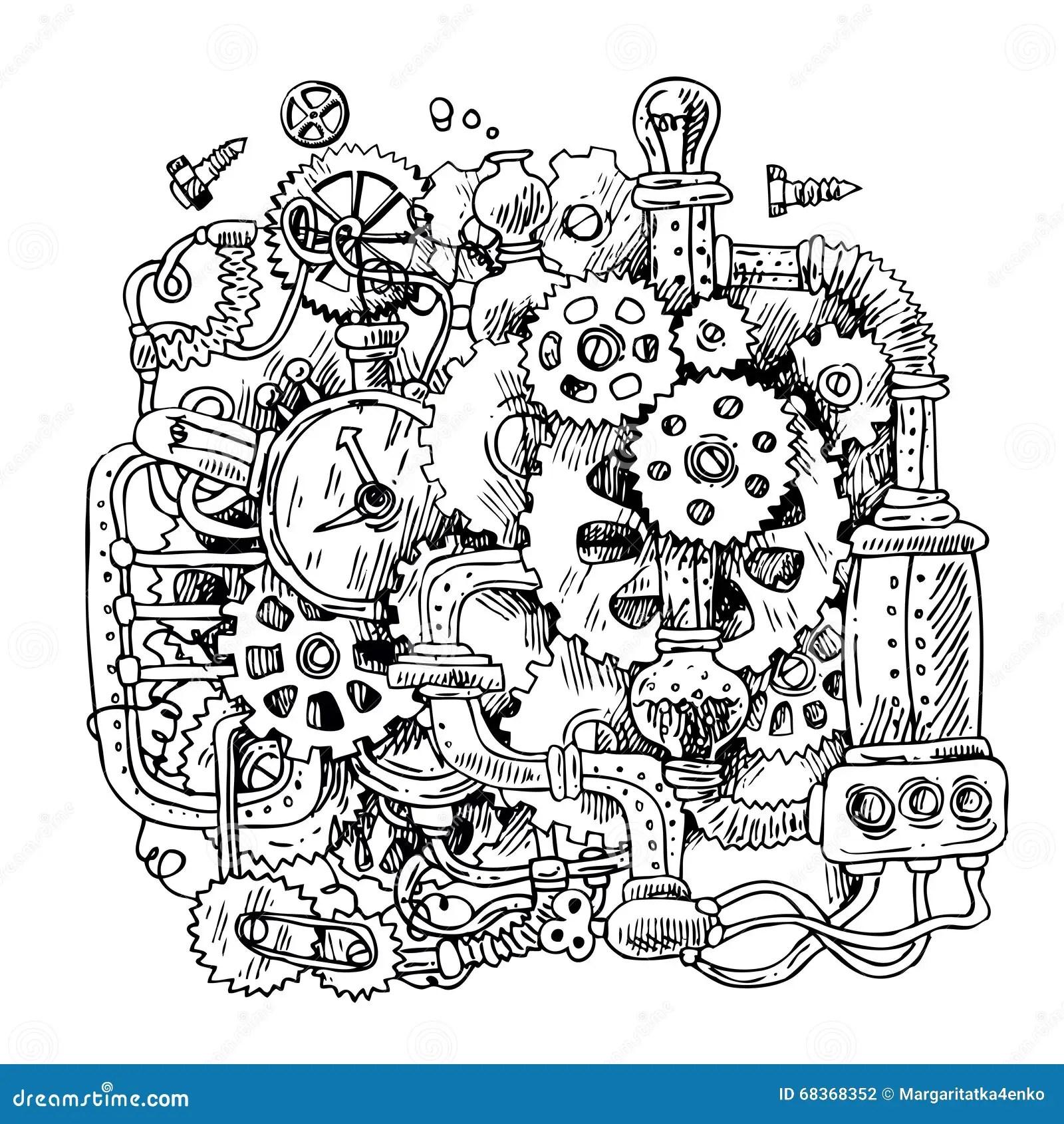 Mecanisme De Steampunk De Croquis Illustration De Vecteur