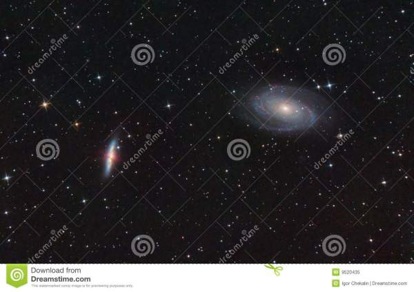 M81 And M82. Spiral And Exploding Galaxies. Royalty Free ...