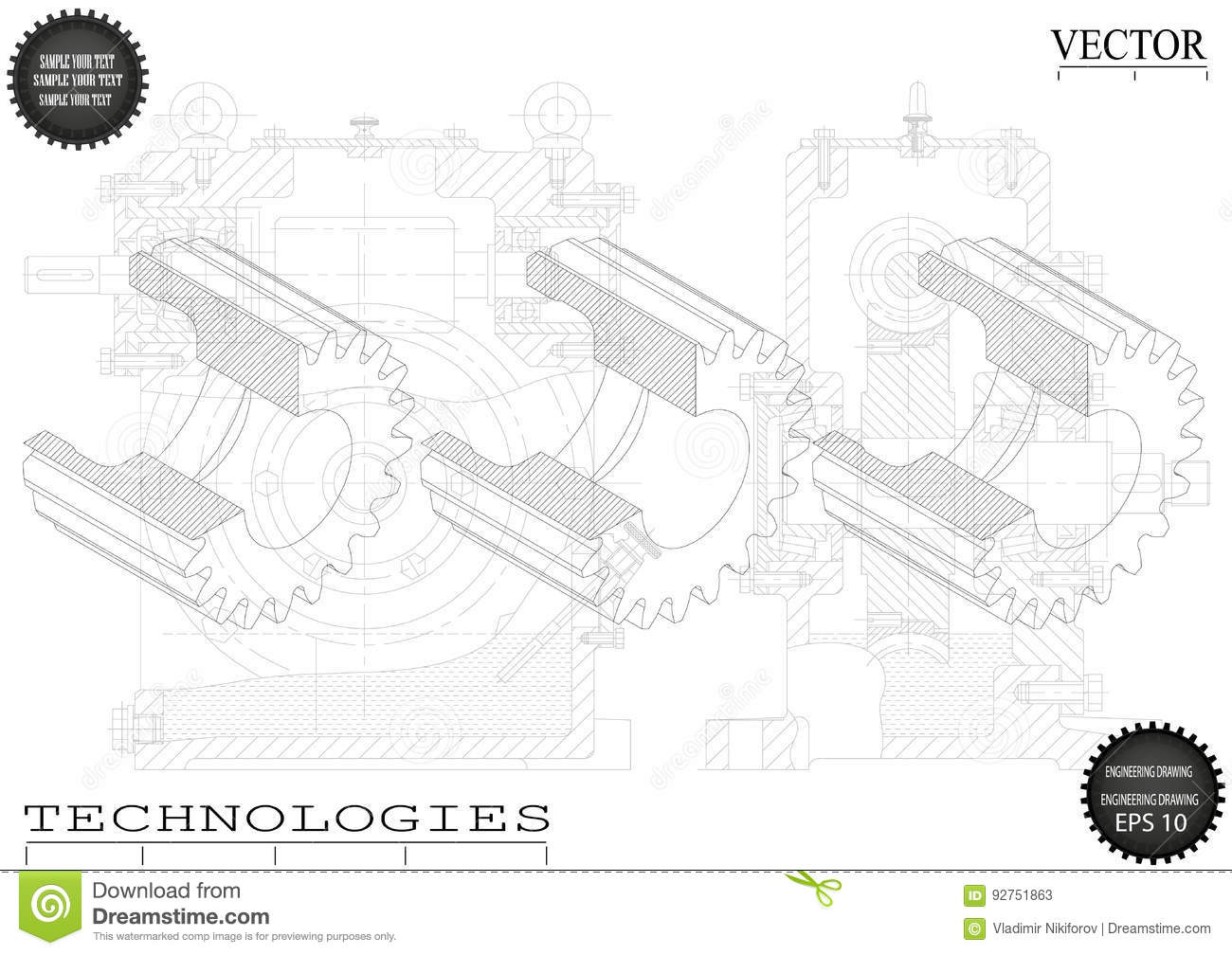 Machine Building Drawings On A White Background Wheels