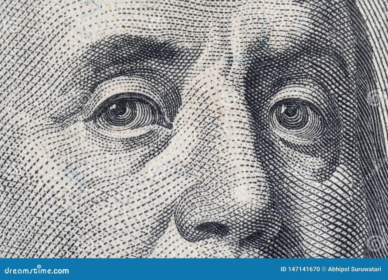 Macro Close Up Of The Us 100 Dollar Bill Extreme Macro