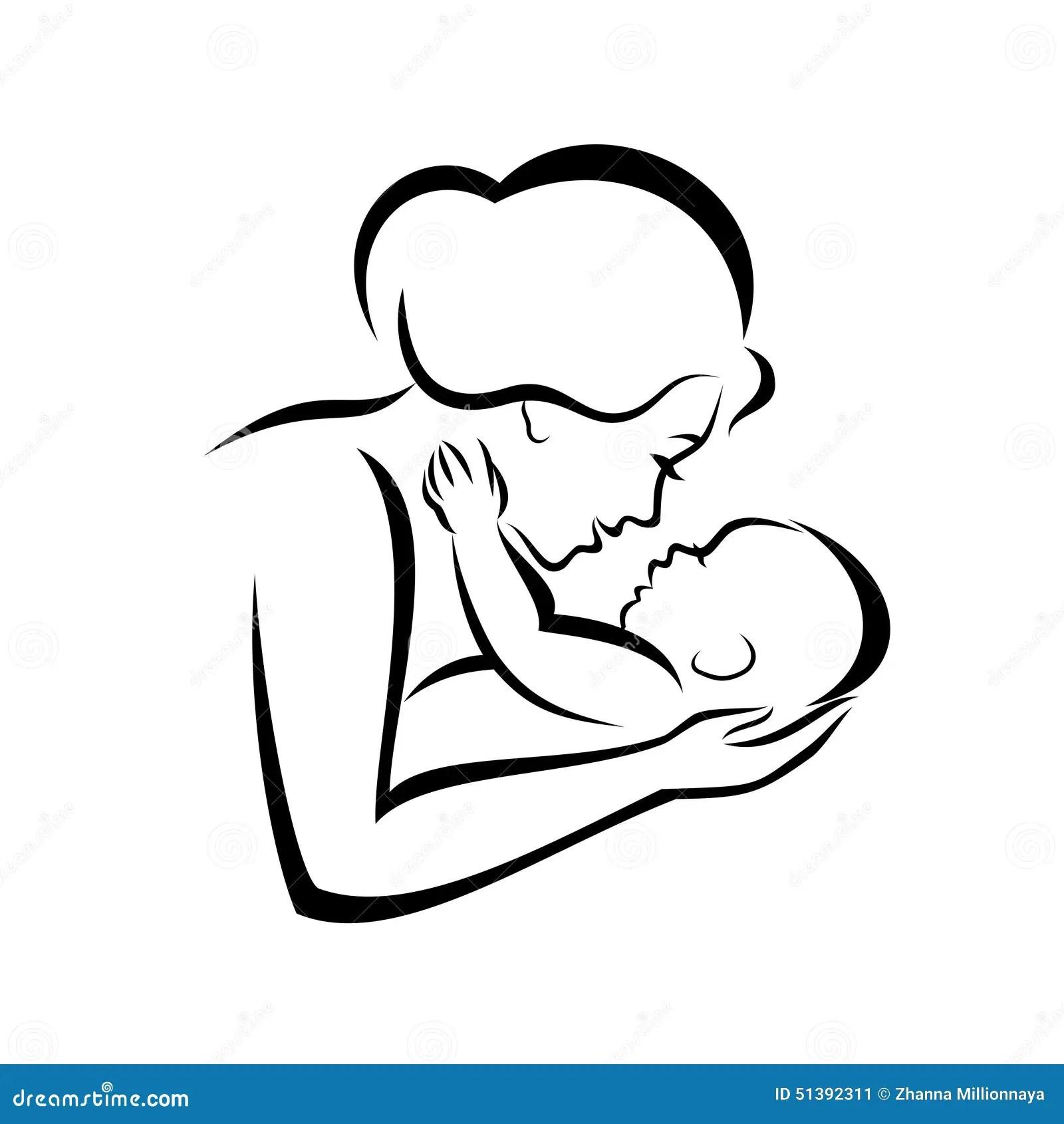 Madre E Bambino Illustrazione Vettoriale Illustrazione Di