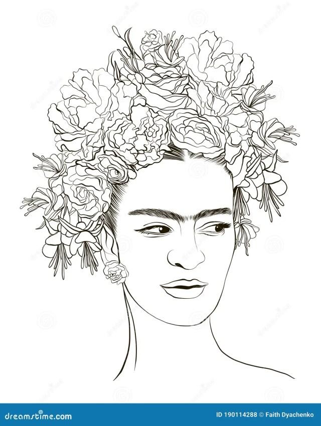 Magdalena Carmen Frida Kahlo Coloring Page Portrait. Stock Vector