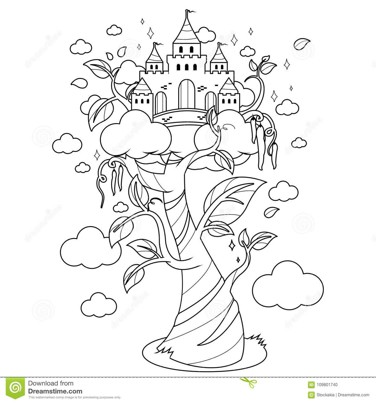 Magic Beanstalk And Castle Black And White Coloring Book