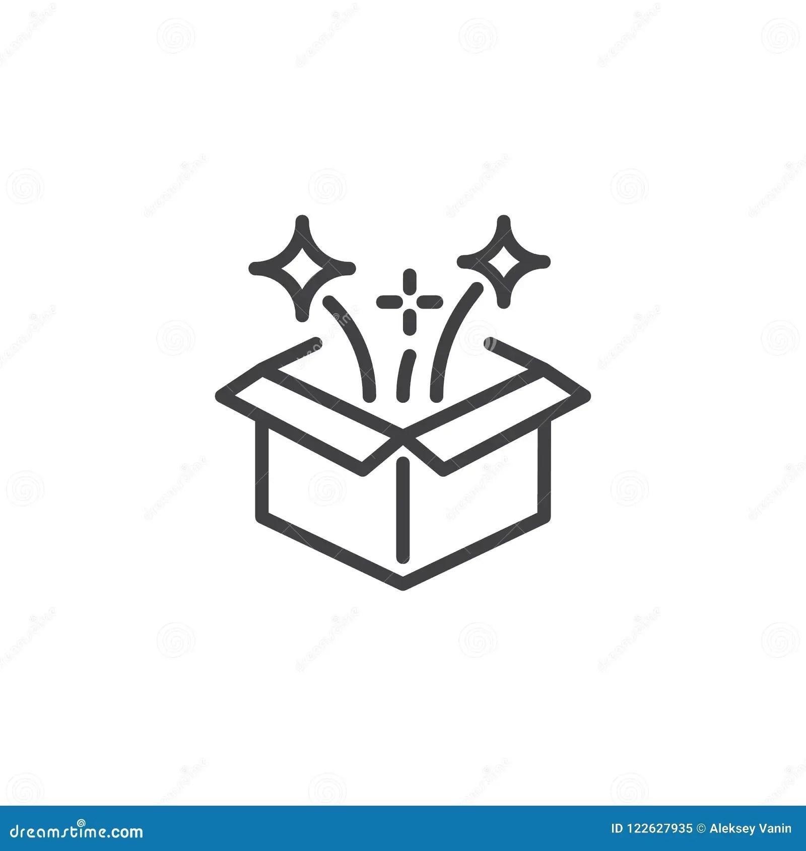 Magic Box Outline Icon Stock Vector Illustration Of