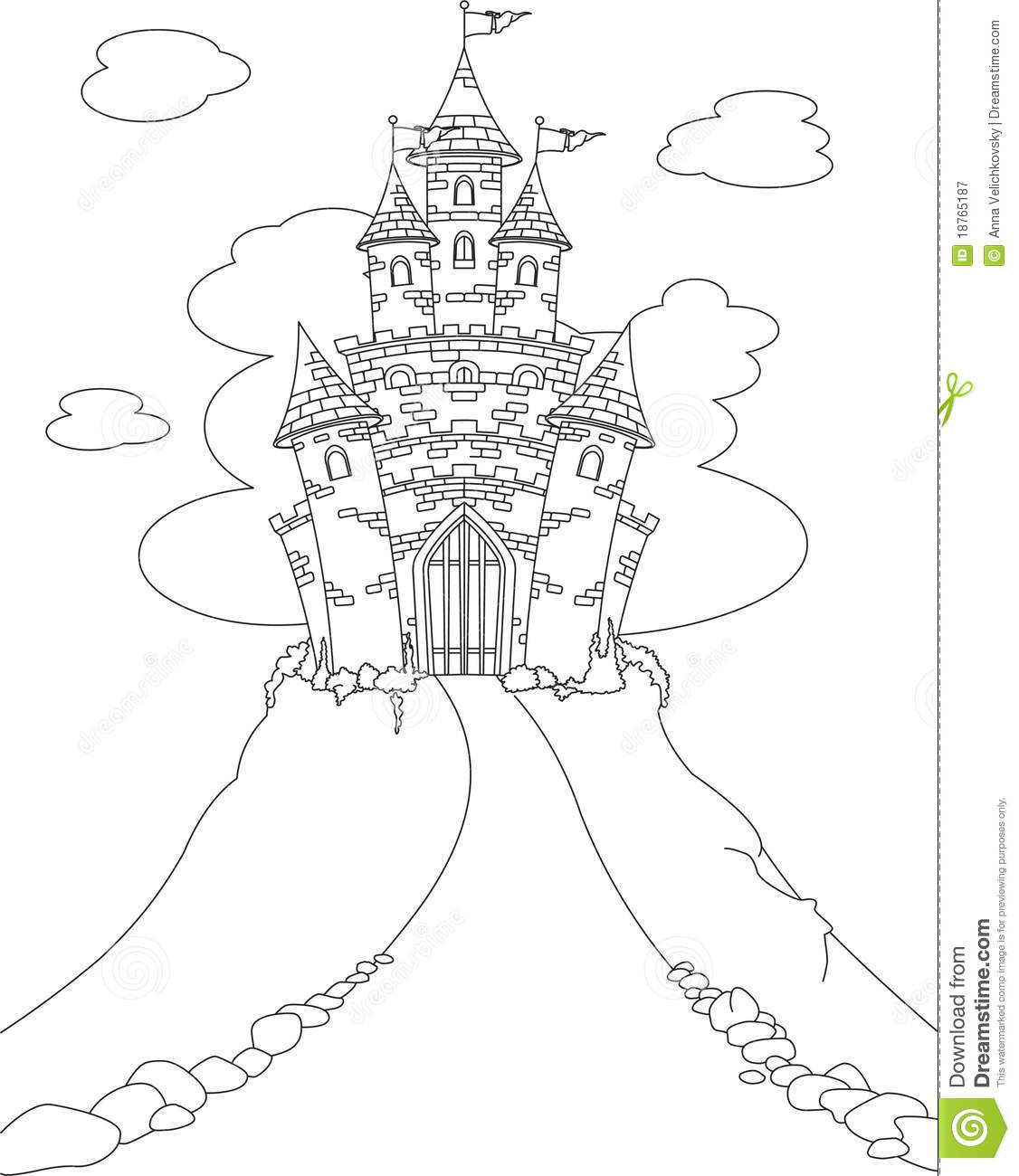 Magic Castle Coloring Page Stock Vector Illustration Of