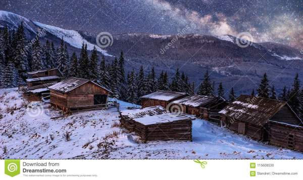 Magical Winter Snow Covered Trees And Mountain Village ...