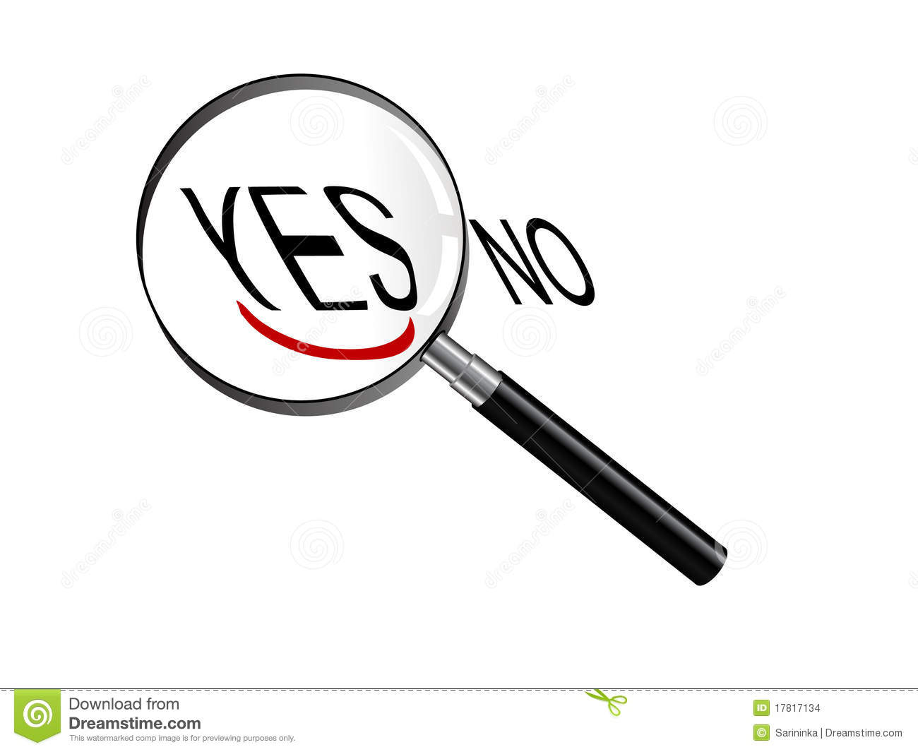 Magnifying Glass Focus On Yes Royalty Free Stock Image