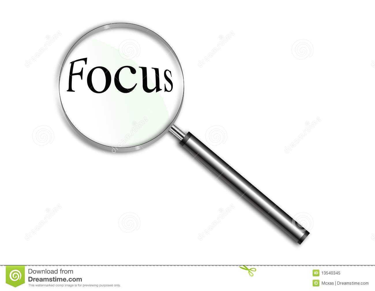 Magnifying Glass Over The Word Focus Stock Illustration