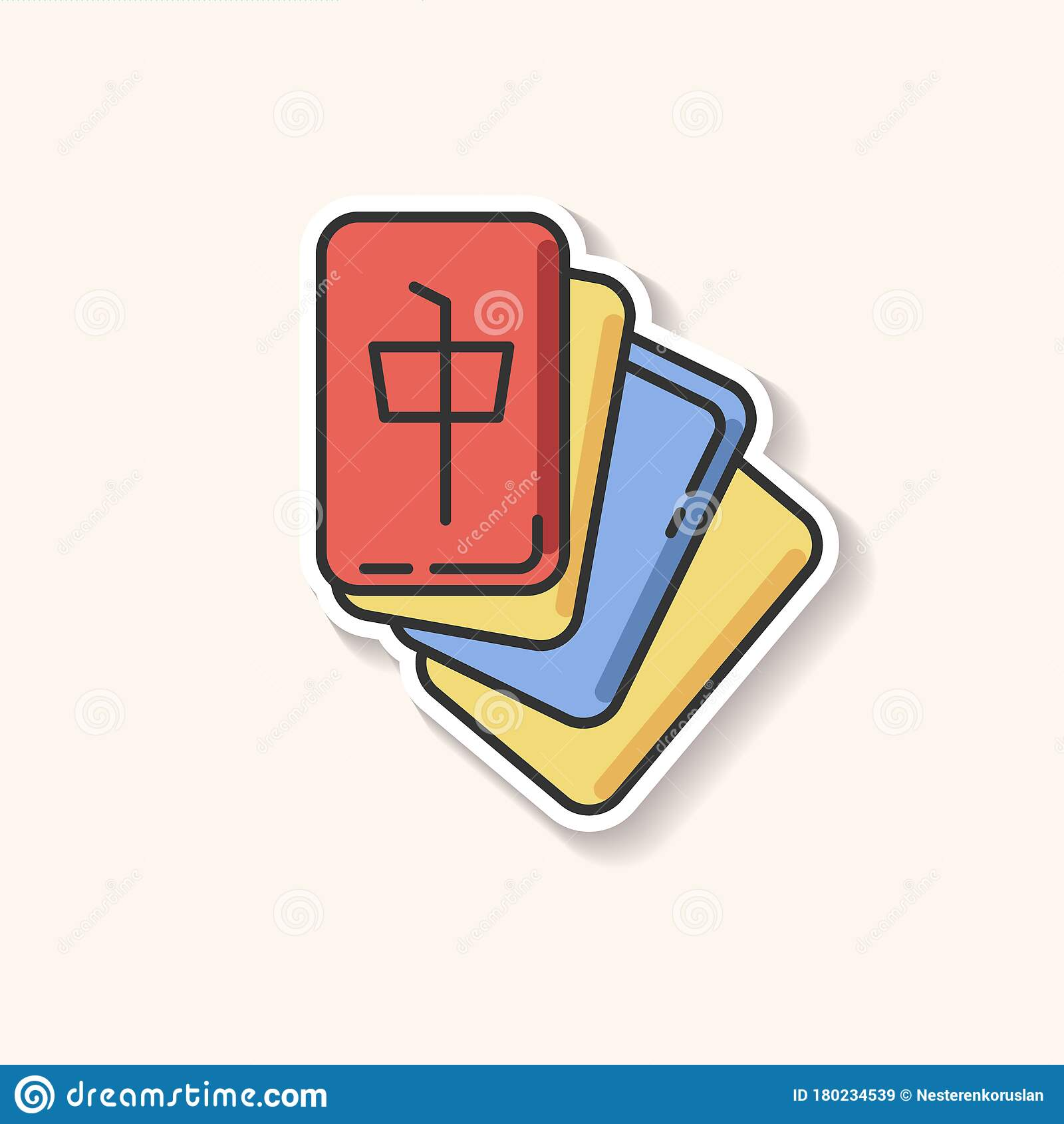 mahjong patch tile based game stock vector illustration of game flat 180234539