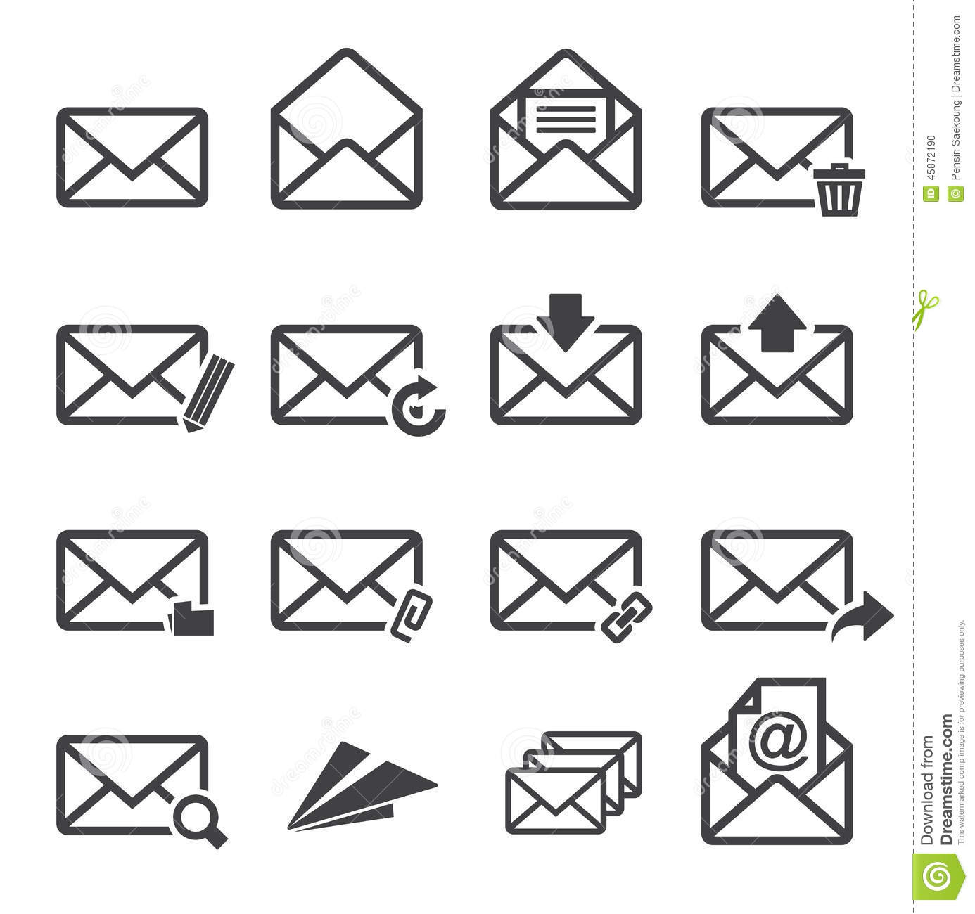 Mail Icon Set Stock Vector Image Of Data Padlock Glass