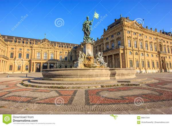 Majestic View Of Frankonia Fountain And Facade Of The