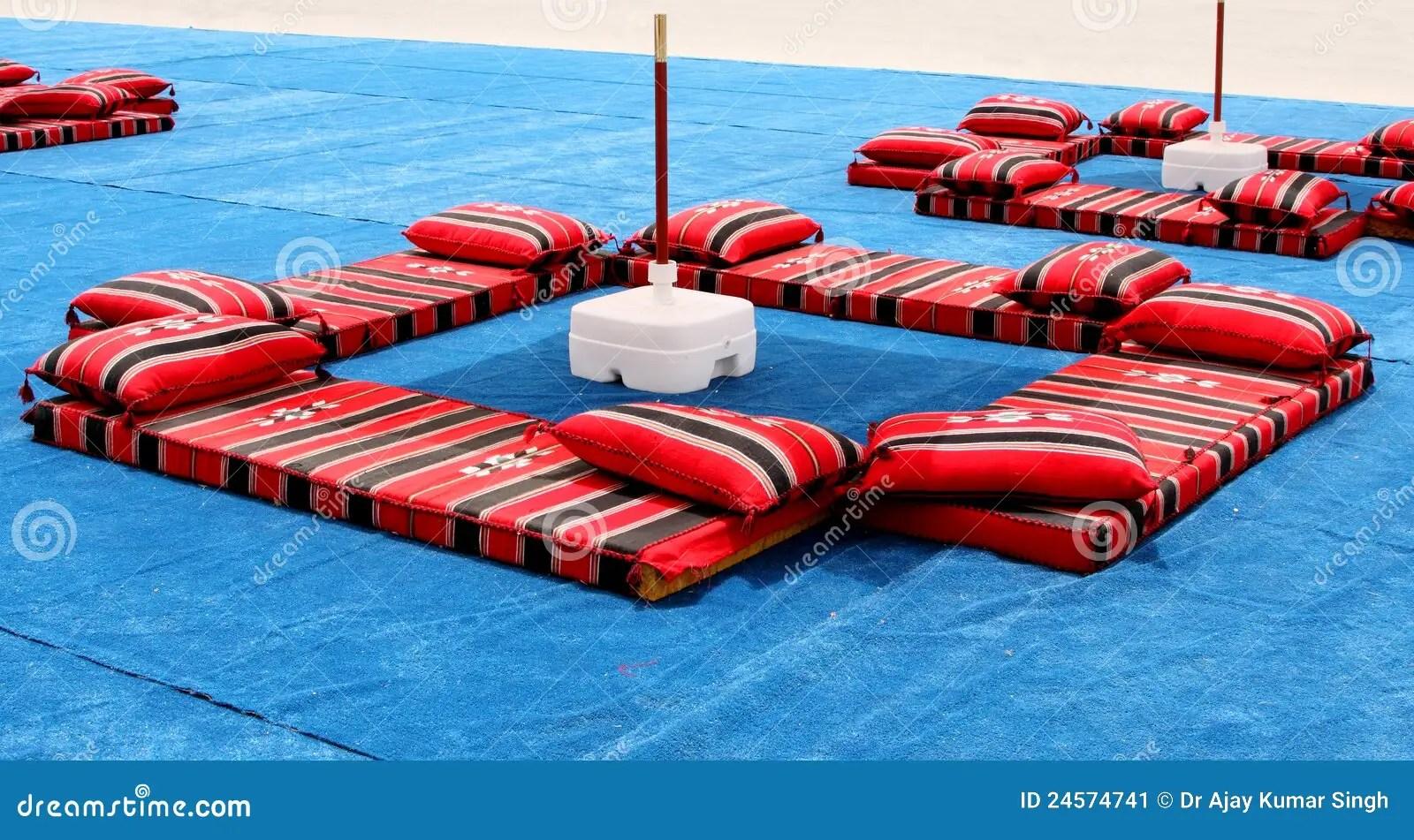 Majlis Traditional Colourful Arabian Seating Stock Image