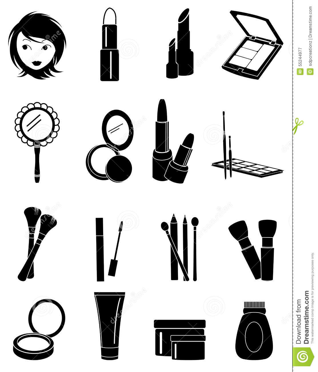 Makeup Icons Set Stock Vector Illustration Of Mascara