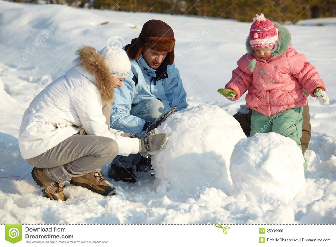 Making Snowman Stock Photo Image Of Person Adult