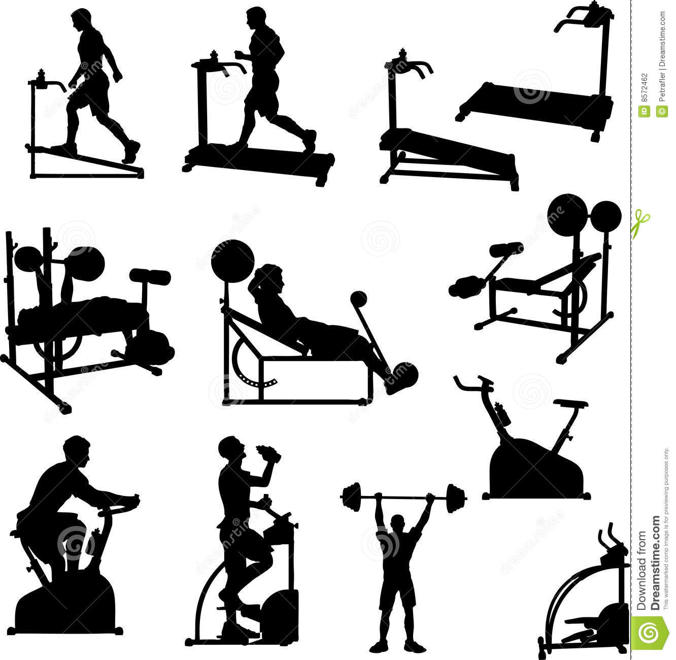 Male Excercise Silhouettes Stock Vector Illustration Of