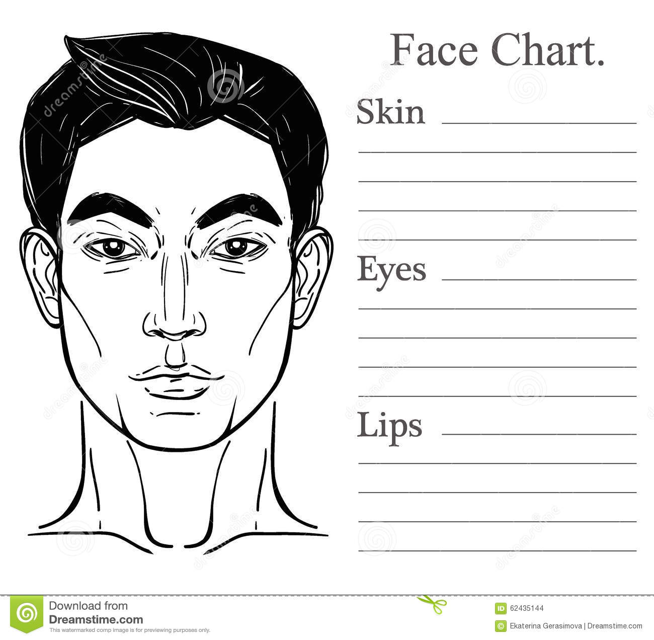 Male Face Chart Make Up Artist Blank Stock Vector