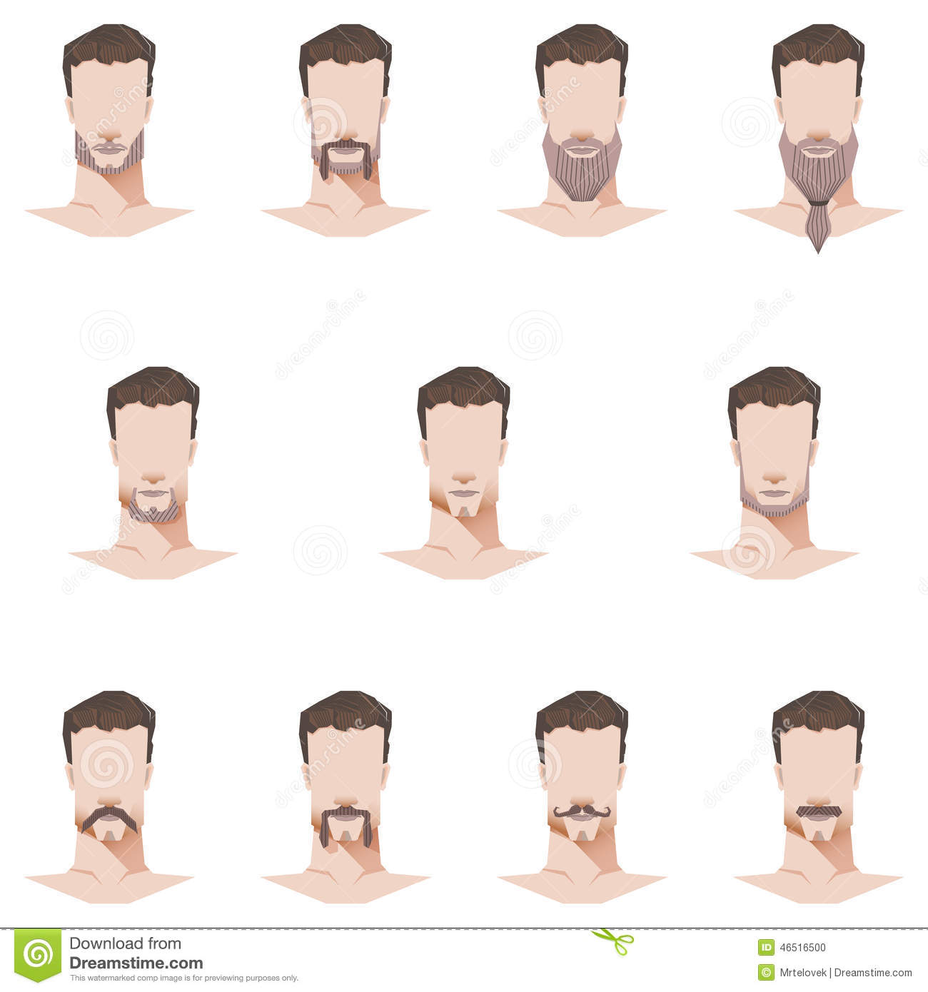 Male Face Mustache And Beard Flat Style Stock Vector
