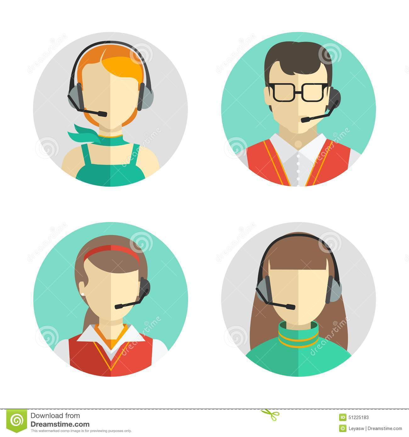 Male And Female Call Center Avatars In A Flat Style With A