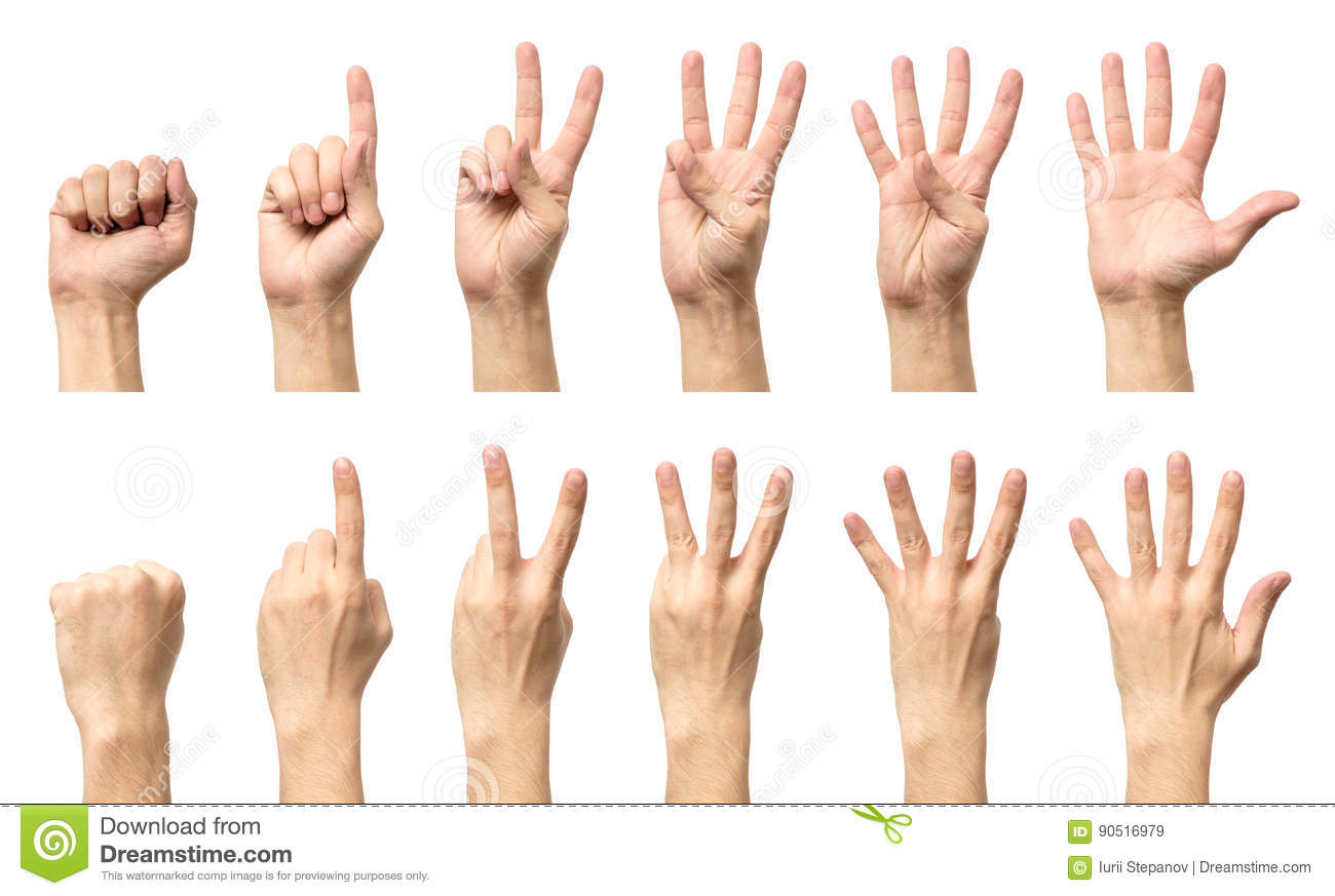 Male Hands Counting From Zero To Five Isolated Stock Image