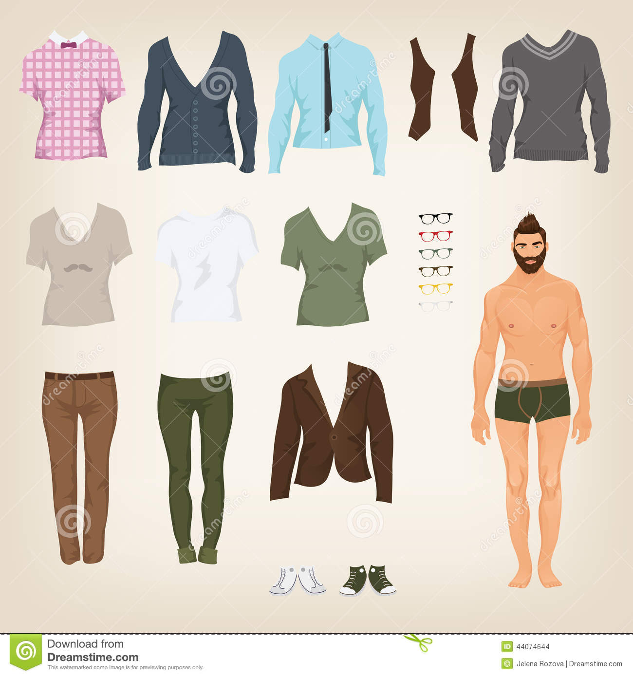 Male Hipster Dress Up Paper Doll Stock Vector