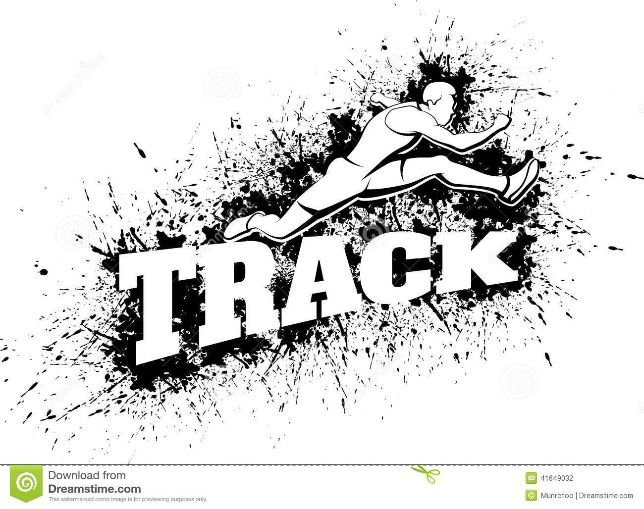 Male Hurdling Over Word Track With Splatter Stock Photo