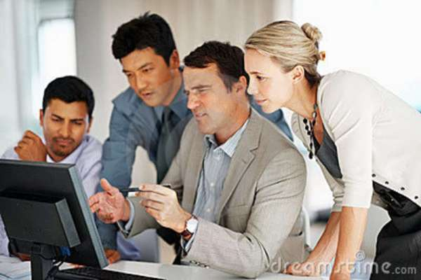Royalty Free Stock Photography: Male leader discussing ...