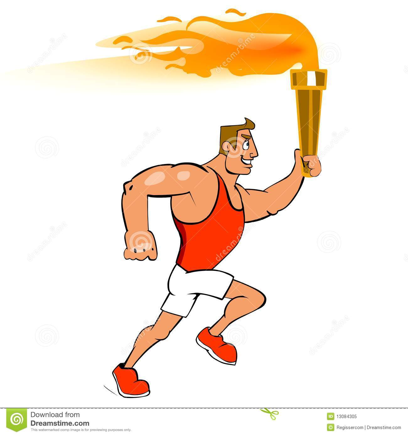 Male Runner With Torch Stock Illustration Illustration Of