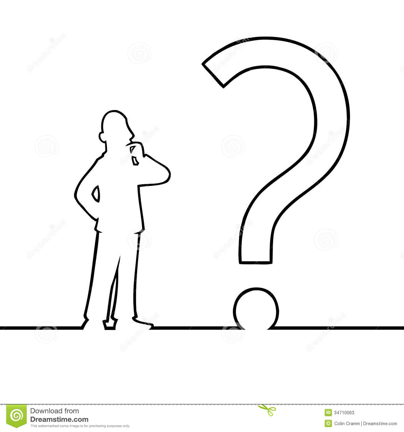 Man With Big Question Mark Stock Photos
