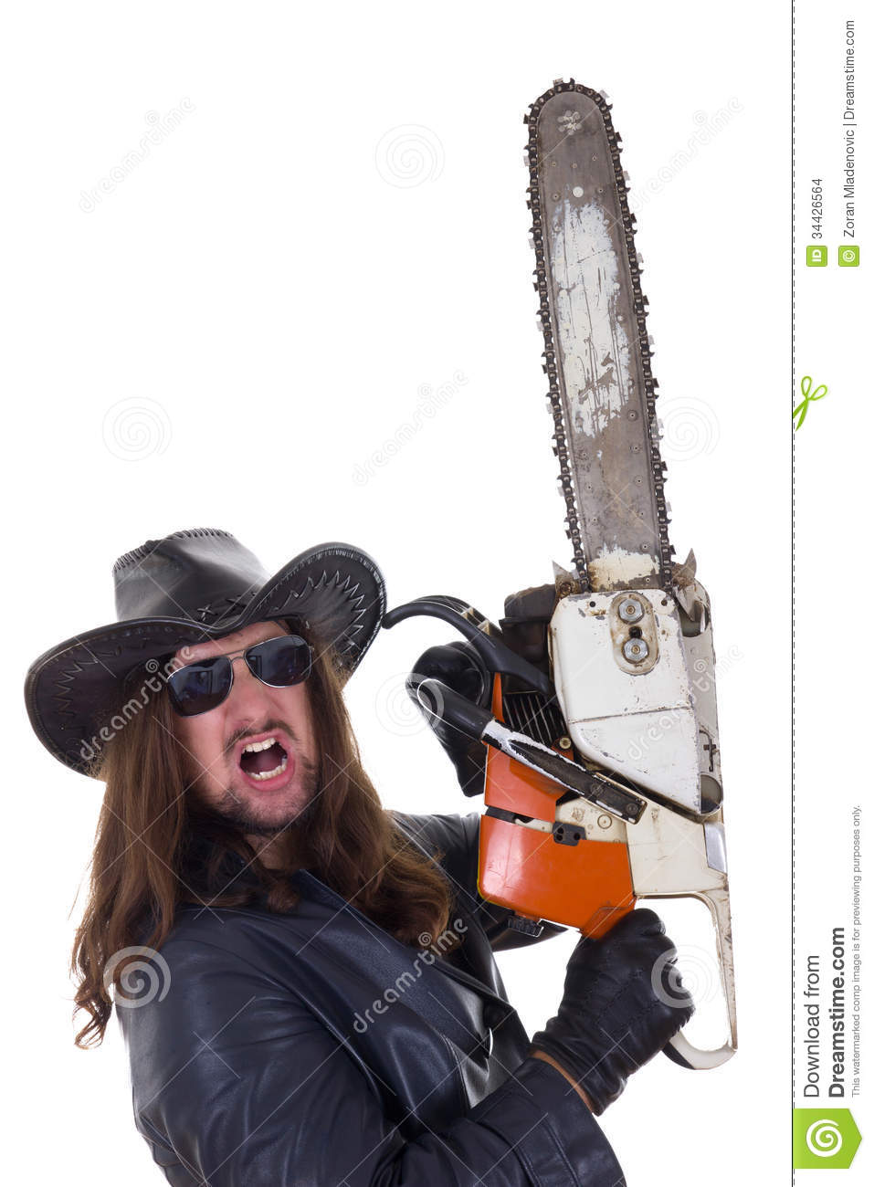 A Man With A Chainsaw With An Expression Stock Photo
