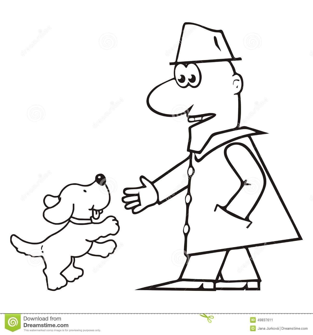 Man And Dog Coloring Stock Vector